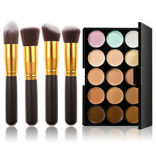 New Fashion Make Up 15 Colors Contour Cream Makeup Concealer Palette 4 Pcs Makeup Comestic Brushes Beauty Set