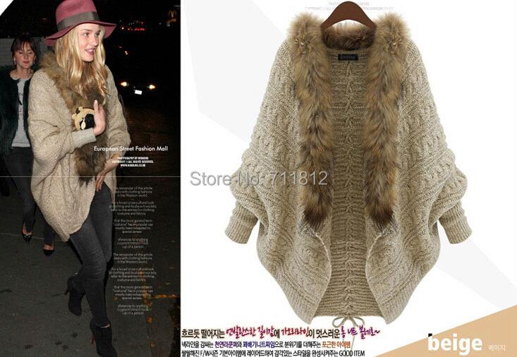 Winter Knitting Sweaters Women Long Batwing Sleeve Vintage Totem Loose Knitwears Cardigan Sweater Fur Collar - Mr Cui Popular Store store