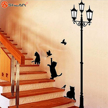 New Arrival Cat Wall Sticker Lamp and Butterflies Stickers Decor Decals for Walls/vinyl Removable Decal/wall Murals(China (Mainland))