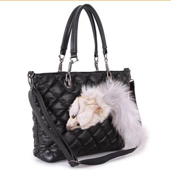 women leather handbags winter Fur fox single shoulder bag fashion Cute animals fox decoration female package ladies big tote(China (Mainland))