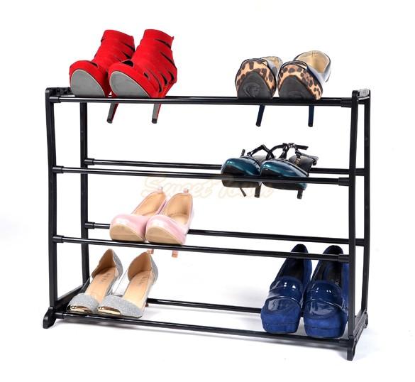 2015 New 12 Pair 4 Tier Home Shoe Rack Shelf Storage Closet Organizer Cabinet Portable DIY Shoe Hanger High Quality 30(China (Mainland))
