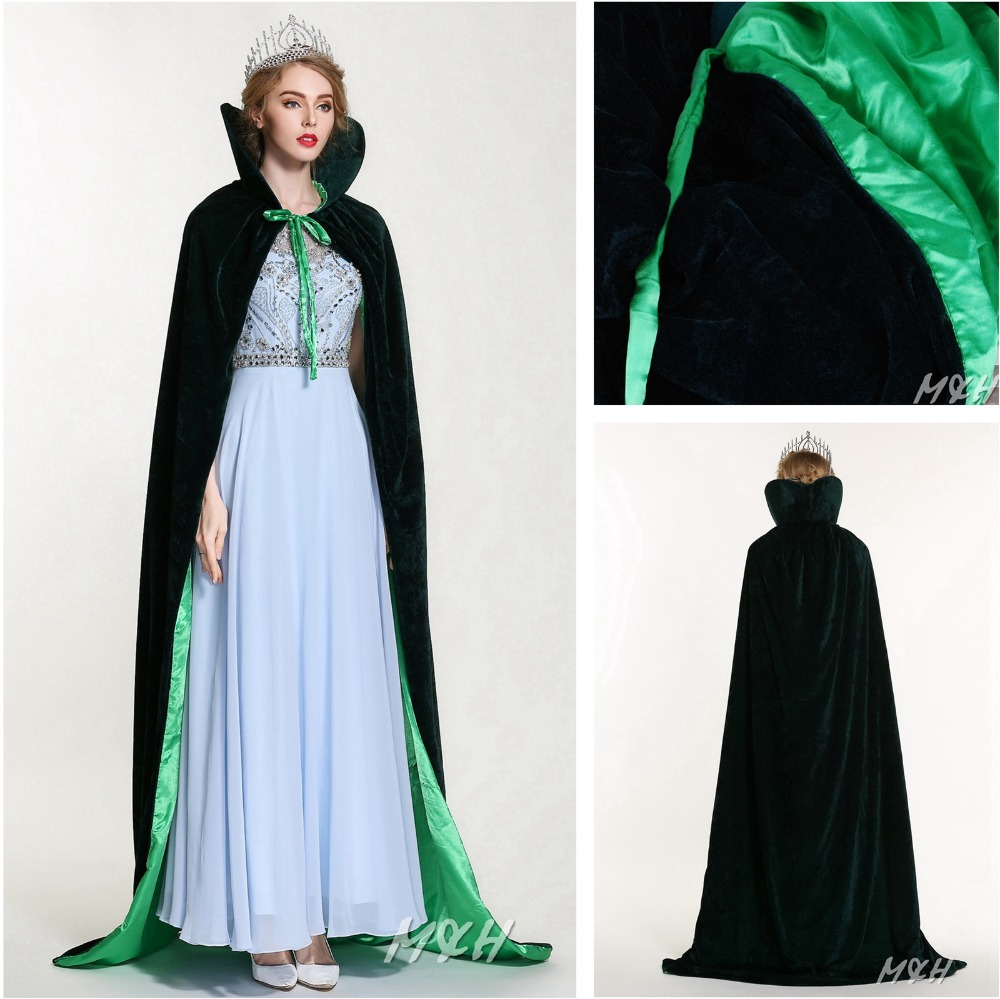 "Unisex 71"" Full Length Velvet Satin Cloak Cape High Collar Wicca Robe Medieval Pageant Party Costumes Dress Multi Color(China (Mainland))"