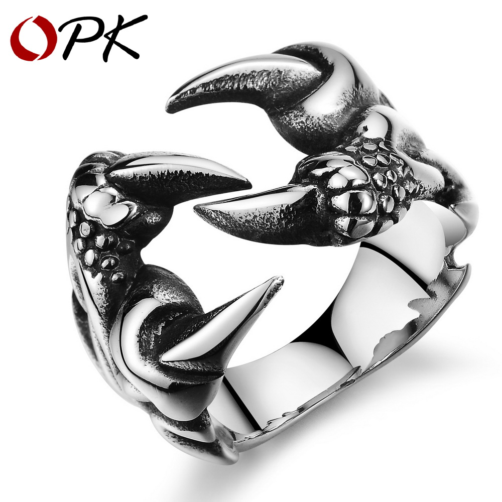 OPK New Fashion Chinese Dragon Claw Ring Men / Boys Punk Style Titanium Steel Silver Jewelry N403 - store