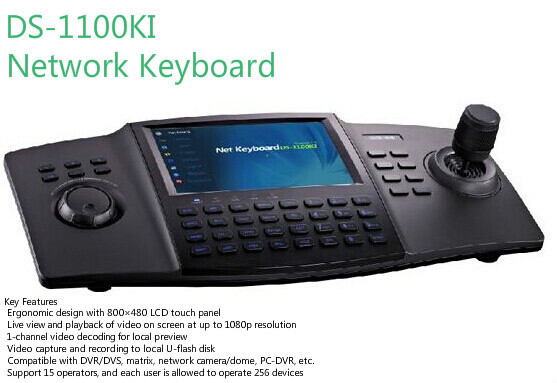 IN stock Original English Device DS-1100KI LCD touch panel CCTV DVR menu control and PTZ Control Keyboard(China (Mainland))