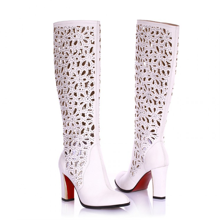 Black Flowers Hollow Diamond Thick High-heeled Boots Female 2015