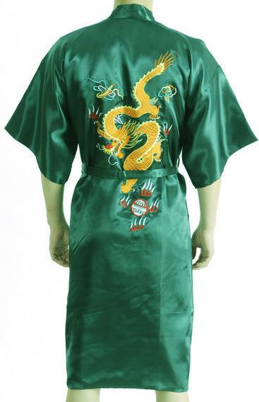 Летом новый зеленый китайских людей традиционный халат халат новинка вышивает дракон ...