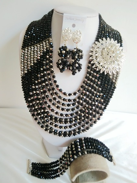 Fashion New  Nigerian Wedding African Beads Jewelry Set Crystal Necklaces Free shipping   JWN-000366<br><br>Aliexpress