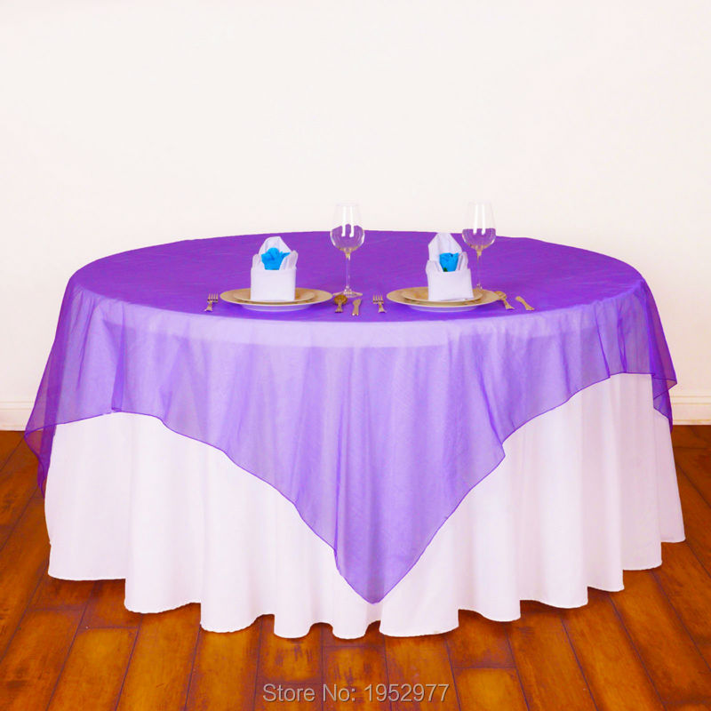 "30 colors 72"" inch Organza Table Cover tablecloths Overlay Cloth for Wedding Party Decoration Product Supply free shipping(China (Mainland))"