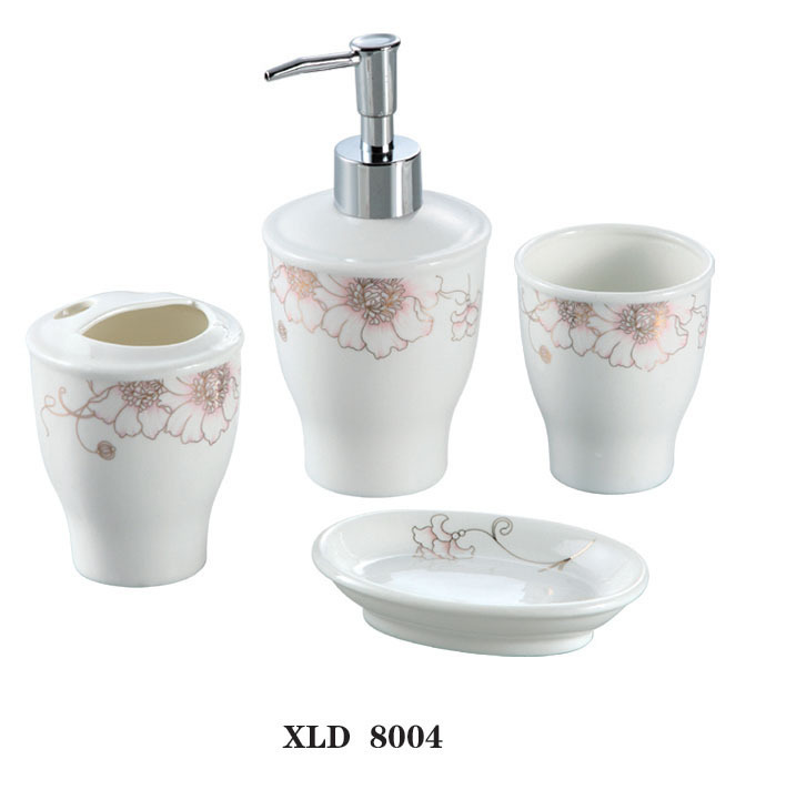Xld8004 ceramic bathroom accessory set soap dish dispenser for Ceramic bathroom accessories sets