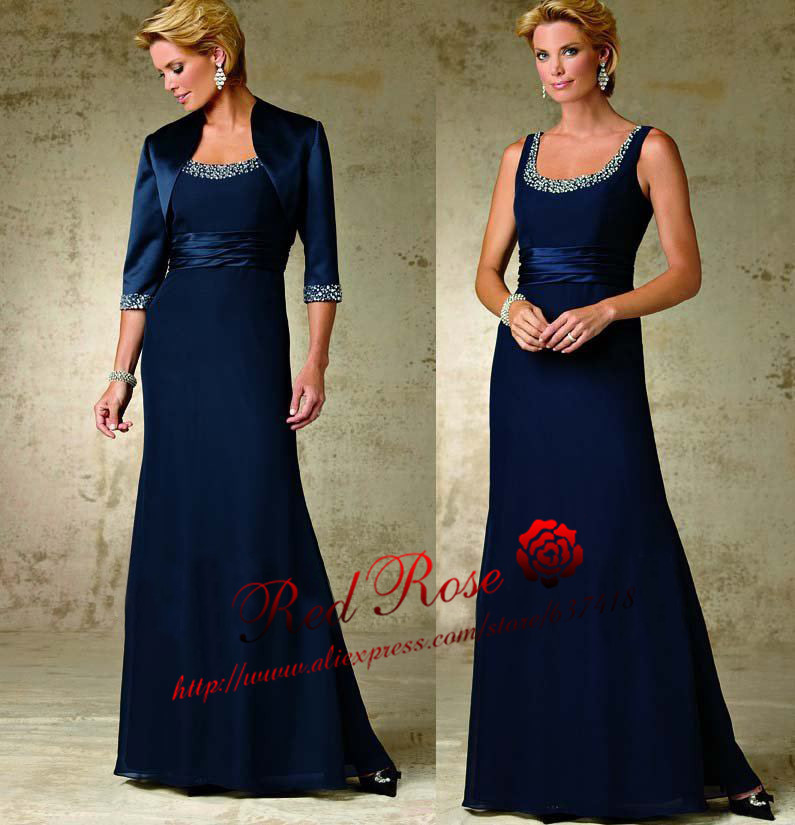 Navy Blue Chiffon Mother Of The Bride Dress - Wedding Dresses In Jax