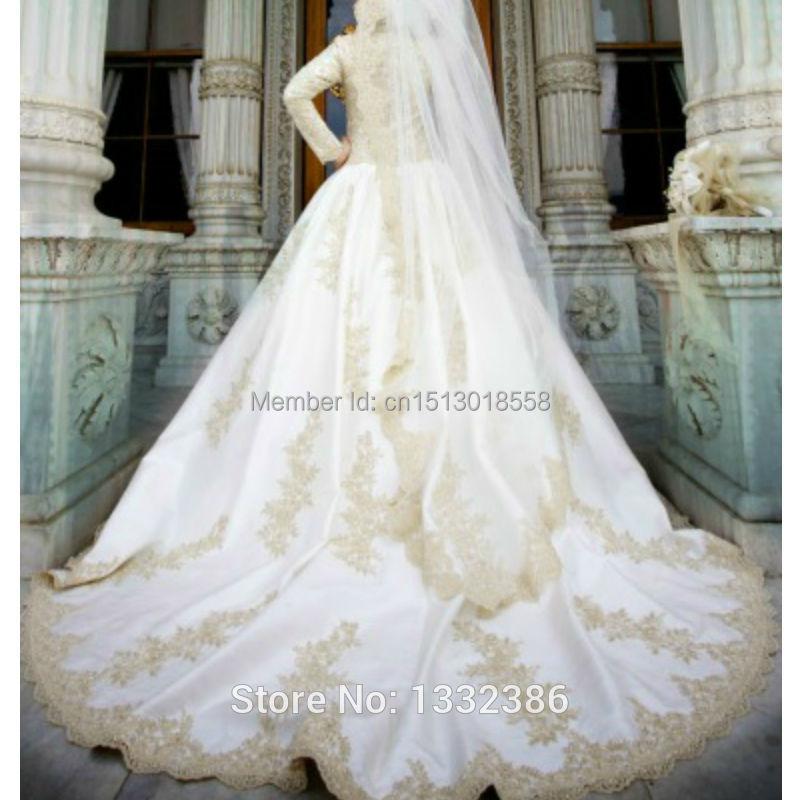 Gold Lace Appliuqes Dubai Abaya Bride Dress Ka Muslim Long Dress Full ...