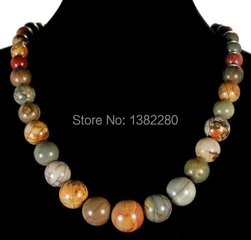 Free shipping Fashion jewelry!6-14mm Multicolor Picasso Jasper Beads Necklace 15 inches 2 piece/lot JT5619 The charming girl(China (Mainland))