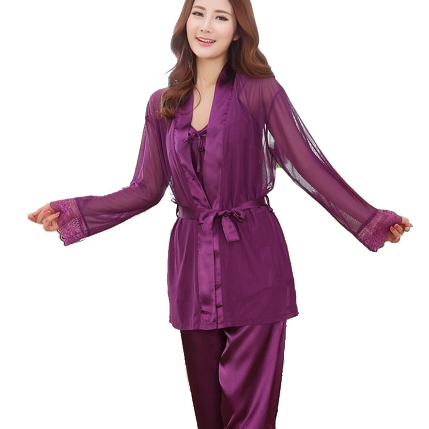 Popular Silk Pajamas Sleeping Suit-Buy Cheap Silk Pajamas Sleeping ...