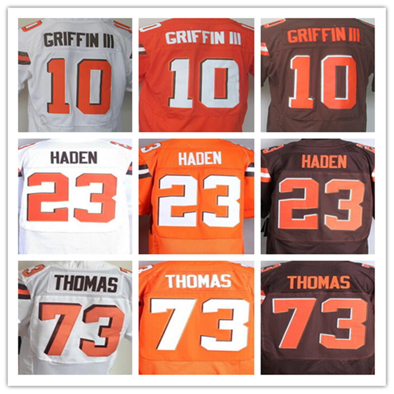Best quality jersey,Men's 10 Robert Griffin III 23 Joe Haden 73 Joe Thomas elite jerseys,White,Orange,Size 40-56(China (Mainland))