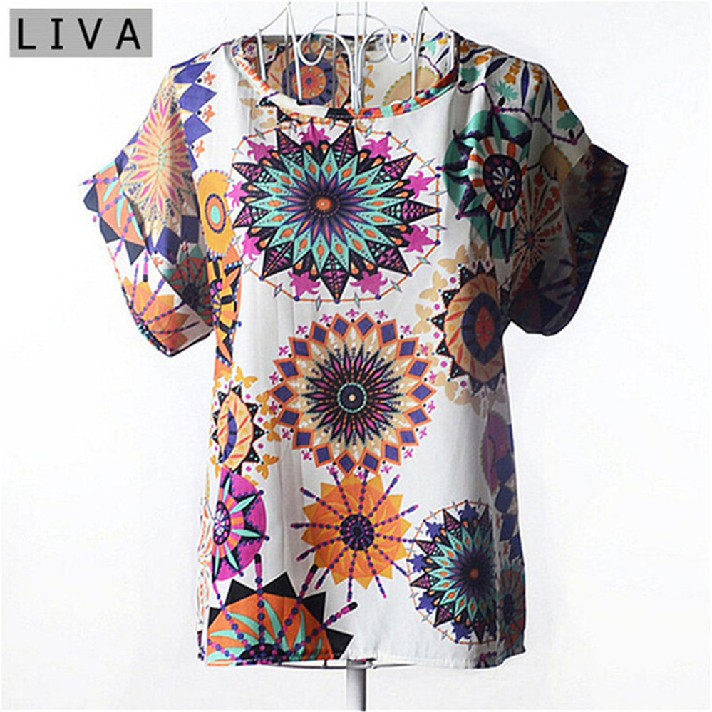 Summer Vintage Wheels Blusas Femininas Womens O-Neck Front Up Short Sleeve Blouse Sexy Multicolor Chiffon Shirt Tops Plus Size (5)