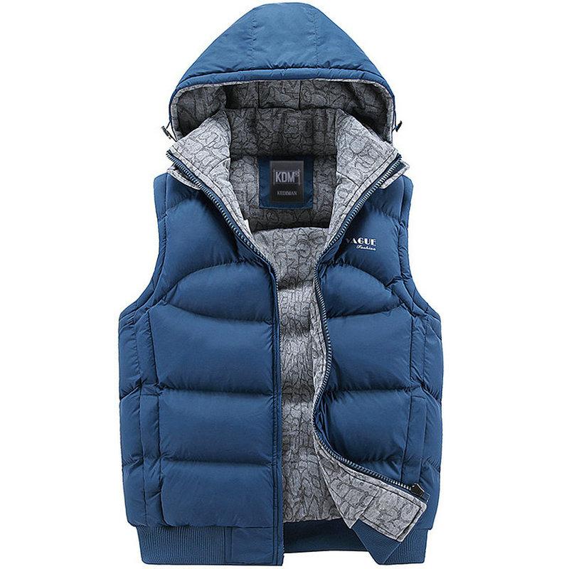 New Stylish Autumn Winter Vest Men High Quality Hood Warm Sleeveless Jacket Waistcoat Men (Asian Size)