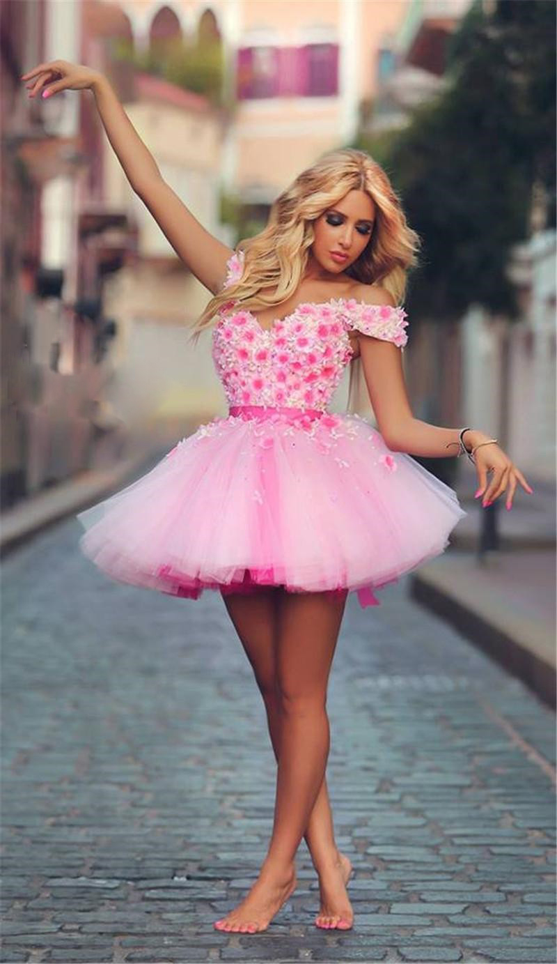 Forced to wear a ball gown - Fascinated Unique Designers Boat Neck Party Gown 2015 Vestidos De Graduacion Largos Beautiful Flowers Short Pink