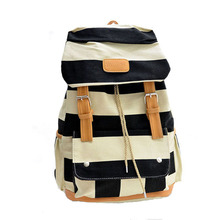 2016 Women Girl Striped Canvas Backpack Leisure Hot School Backpack For Teenagers Travel Rucksack Campus Camping Leisure Bag(China (Mainland))