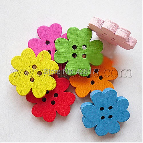 Additional Discounts Painted 4-hole Basic Sewing Button Flower Shape, Wooden Buttons, Mixed Color, 20mm long - Jewelry Beads Boutique store