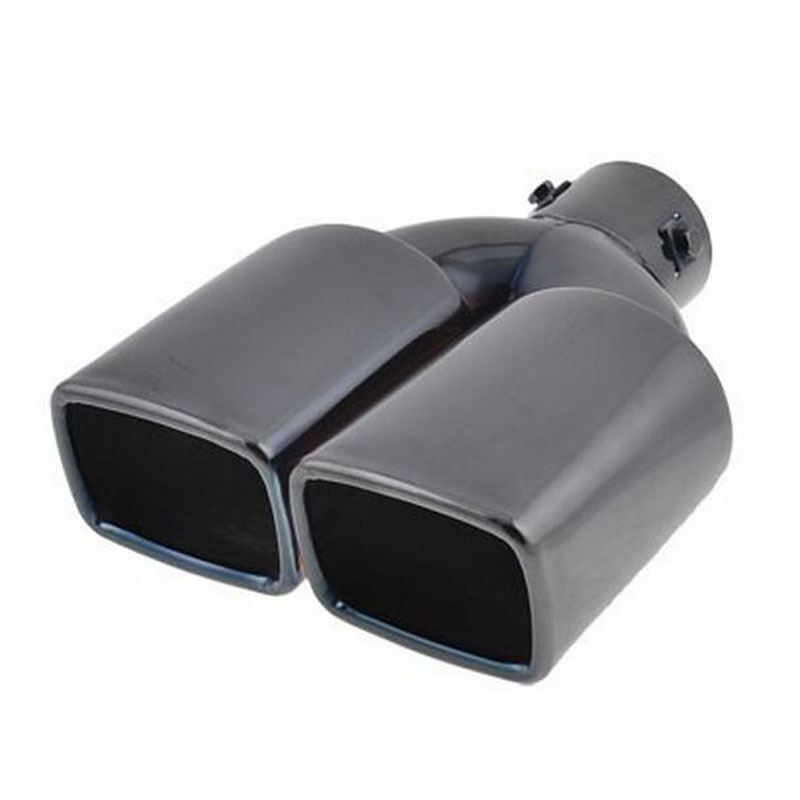 "2.3"" Inlet Exhaust Pipe Muffler Tip Piping Rectangle Shape Tail Two Row Dual End Black Stainless Steel Car Styling(China (Mainland))"
