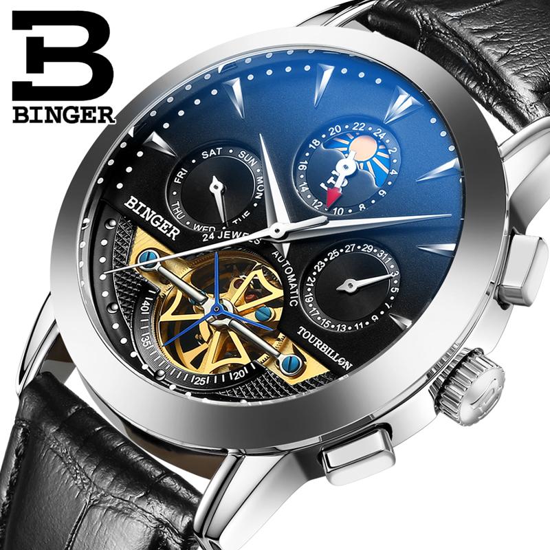 Genuine Swiss BINGER Brand Men Self-wind waterproof leather strap automatic mechanical male black dial fashion Tourbillon watch(China (Mainland))