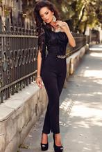 Sexy Jumpsuit Women Jumpsuit 2015 New Asymmetric One Sleeve Lace Bodice Jumpsuit Free Shipping GY60694