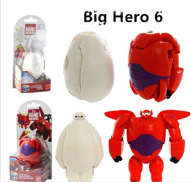 2015 New anime High quality Big Hero 6 Baymax Creative deformation Toy Robot wholesale retail bag bighero6 Baby Birthday Gift(China (Mainland))