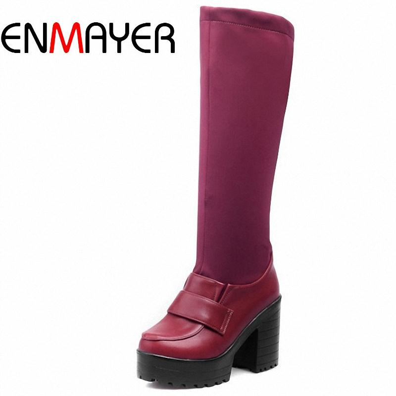 ENMAYER Free shipping simple style Patchwork  knight  Boots Slip-On  barreled shoes for  women PU+Stretch Lycra winter boots<br><br>Aliexpress