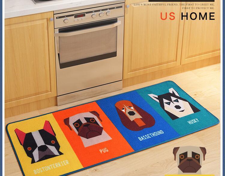 HOT Dog Print Carpet Tapete Strip Floor Mat Absorbent Door Non Slip Mats  Bedside Blanket For Kitchen Bathroom Room Alfombras   Us310