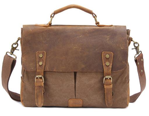Vintage Crossbody Bag Military Canvas + Genuine Leather shoulder bags Men messenger bag men leather Handbag tote Briefcase M601(China (Mainland))