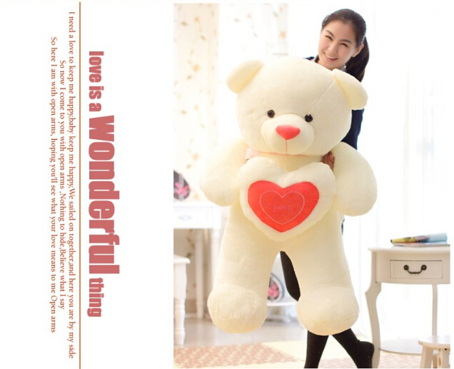 60cm Stuffed Plush Toy Holding LOVE Heart Big Plush Teddy Bear Soft Gift for Valentine Day Birthday Girls' Brinquedos(China (Mainland))