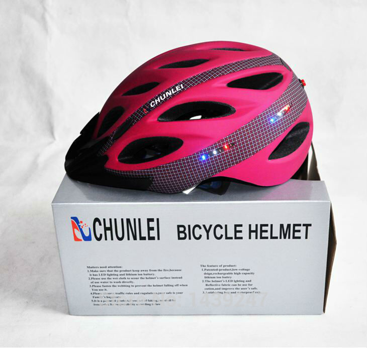 New CHUNLEI Fashion Mountain/ Road bike helmet Cycling sports Bicycle safety helmet with LED light integrated 3 colors Free Ship(China (Mainland))