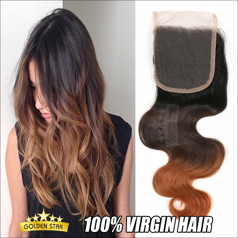 Гаджет  7a 4*4 Virgin Hair Ombre Brazilian Body Wave Bleached Knots Human Hair Free Part Lace Closure 12-24