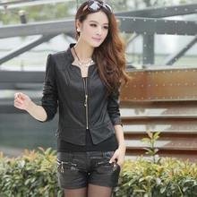 2016 spring female light tan black short design slim PU leather jackets zip full sleeve coat locomotive outerwear for women 53z(China (Mainland))