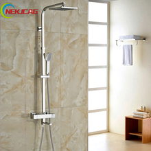 "Buy Wall Mounted 8"" Rainfall Thermostatic Shower Faucet Square Dual Handle Tub Spout Plastic Hand Shower Mixer Taps for $137.46 in AliExpress store"