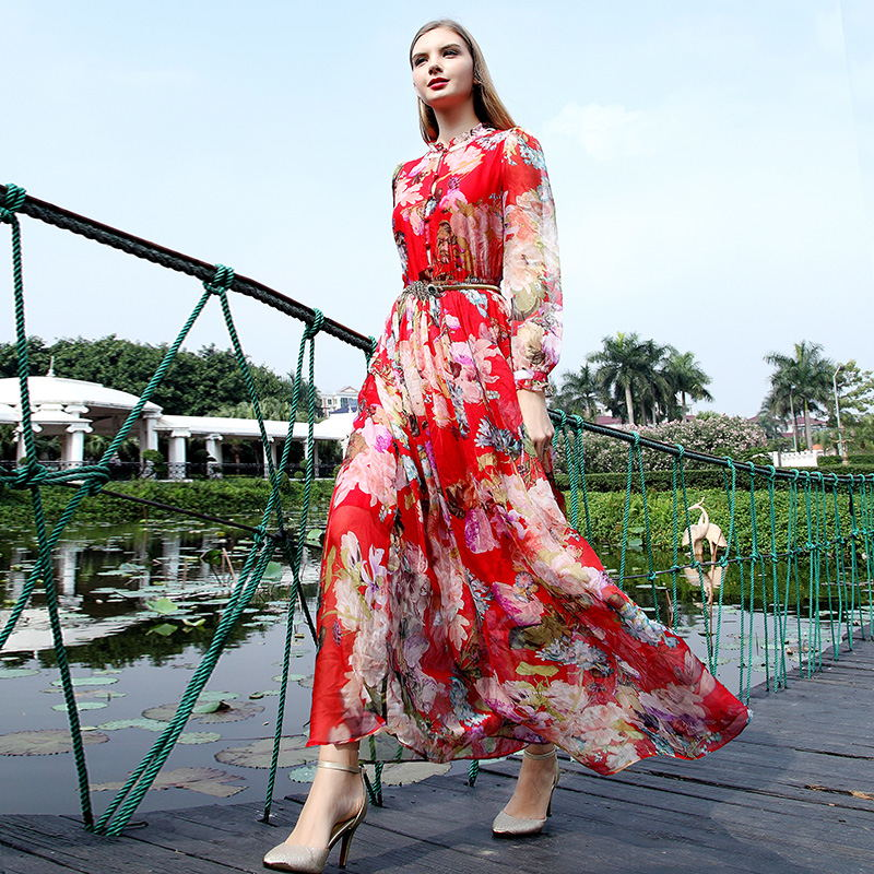 New Fashion Elegant Graceful Printed Fitted Collect Waist Round Neck Single-breasted Long Sleeve Maxi Dresses(China (Mainland))