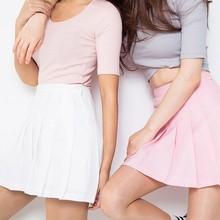 Buy Women Shorts Pleated Skirt Girls High Waist Plain Skater Flared Empire Short Ladies Mini Skirt New Sale for $7.04 in AliExpress store