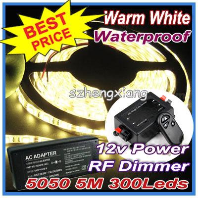 Wireless RF Dimmer !! Flexible White , Cool Warm LED Strip Light 5050 SMD 300Leds 5m Waterproof + Power Adapter - Shenzhen Hengxiang Technology Co., Ltd store