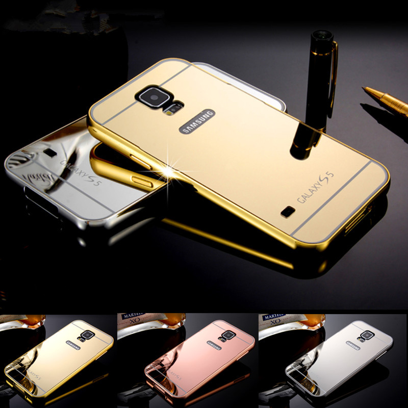 Luxury S5 Case,2 in 1 Aluminum Metal Frame + Mirror Acrylic back cover Case for samsung Galaxy S5 SV i9600 Phone Cases wholesale(China (Mainland))