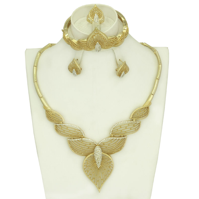 Fashion Elegant Dubai 18k Gold Plated Jewelry Sets African Pretty Convex Leaf Crystal Bangle V Necklace Earrings Set LV1023(China (Mainland))