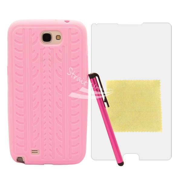 Soft Shell Cover Case + Protective Film Touch Pen Samsung Galaxy Note II N7100 Pink - Zoe store