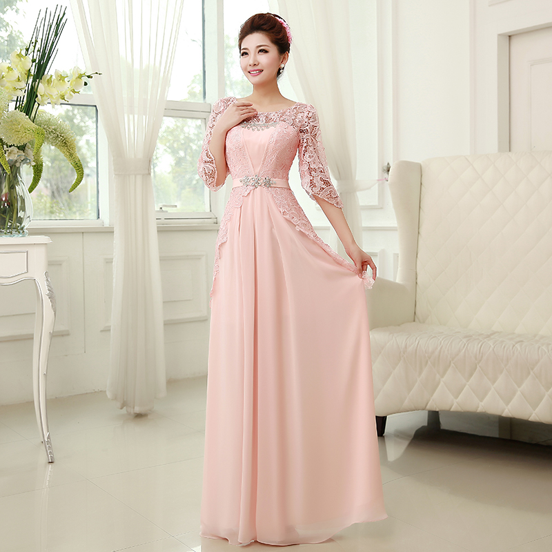 Pink lace evening dress half sleeve chiffon evening for Cocktail dress with sleeves for wedding