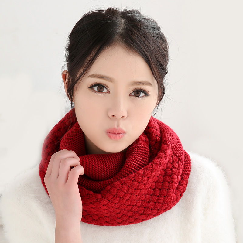 knitted scarf women Fashion Pure neck Woolen Scarf Autumn Winter Scarf Women Warm shawls 2 Circle Cable Knit Long Ring Scarf(China (Mainland))