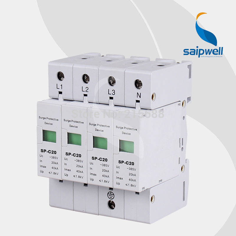 SAIP Surge protection Device,surge arrestor SP-C20 4P<br><br>Aliexpress