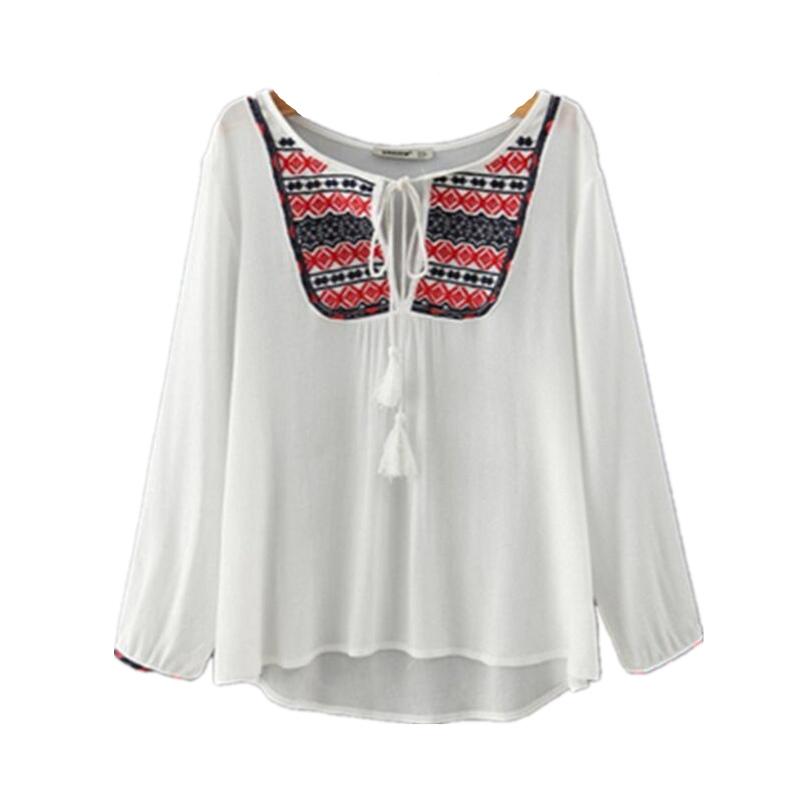 vetement femme 2016 summer embroidery cotton long sleeve white blouse shirt sling women vintage. Black Bedroom Furniture Sets. Home Design Ideas