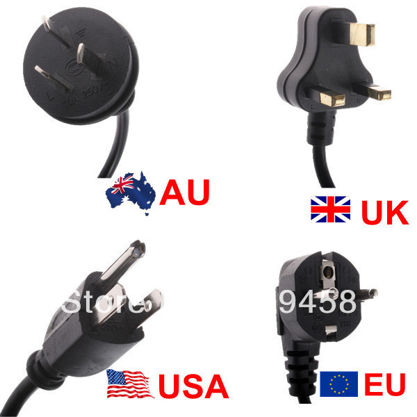 4ft 1.2m AC power cable cord for laptop adapter monitor order with adapter(China (Mainland))