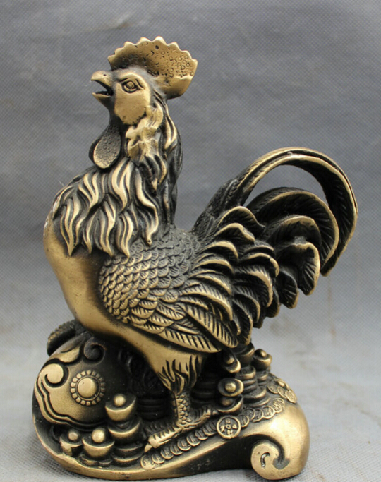 song voge gem S4285 Folk Chinese Bronze Animals Wealth Cock <font><b>Rooster</b></font> On RuYi YuanBao Coin Statue