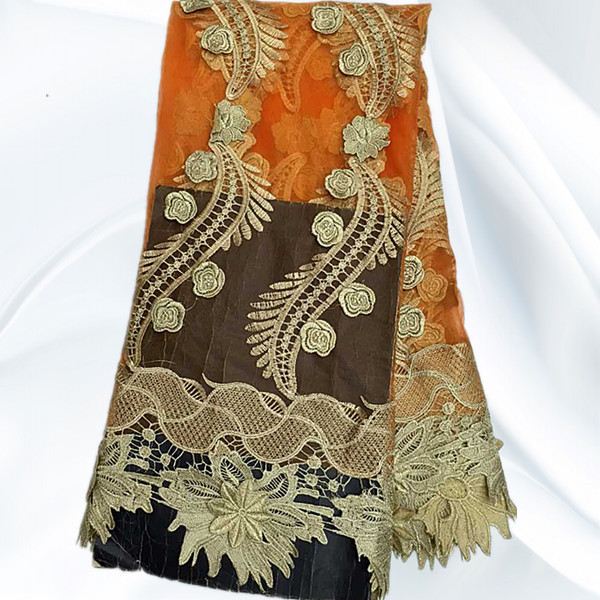 SNL12-2 Orange+Gold High Quality African Tulle Voile Lace Beautiful Soft Embroidered Net Lace Fabric Wholesale Price(China (Mainland))