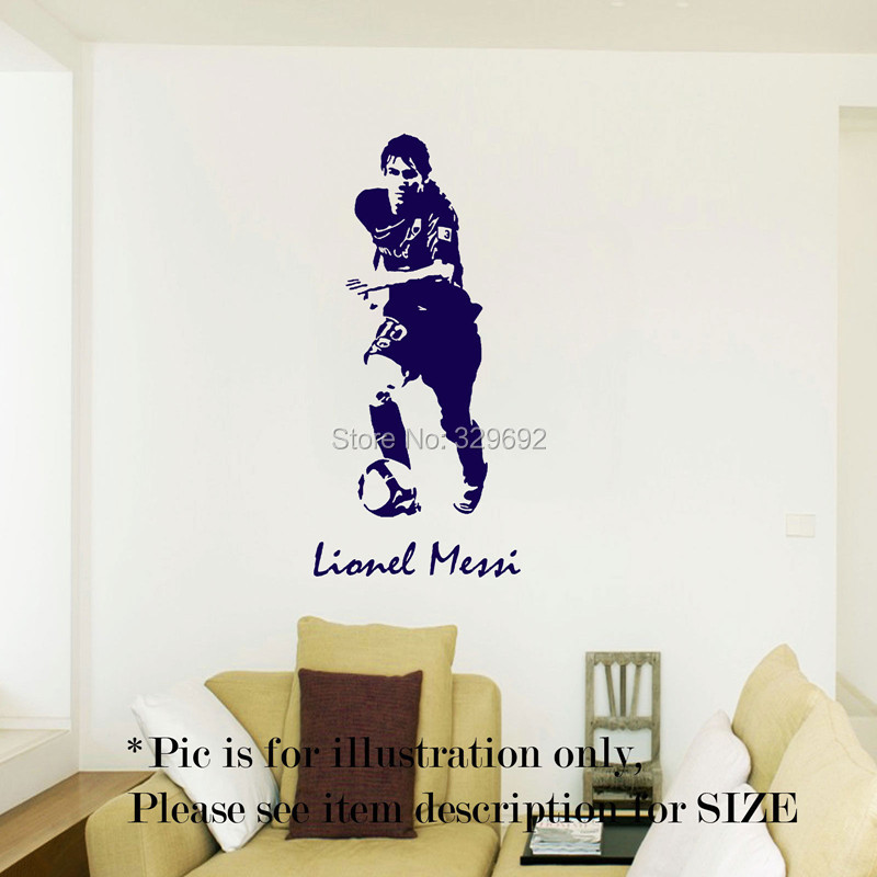 free shipping Lionel Messi Barcelona Football Sport Wall Art Stickers Decal Mural Vinyl Poster tx-178(China (Mainland))