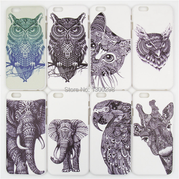 4.7 inch For iphone 6 case 2014 New Style 3D cute Cartoon Animal world logo giraffe Elephant OWL Phone Case Cover Free shipping(China (Mainland))